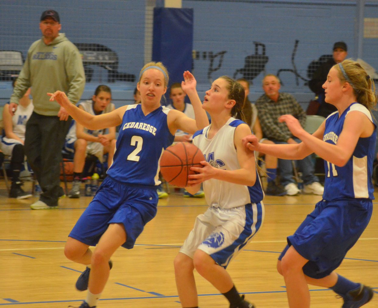 Stephenie Swindler looks to get off a shot for the Moffat County AAU eighth-grade girls basketball team against Cedaredge.