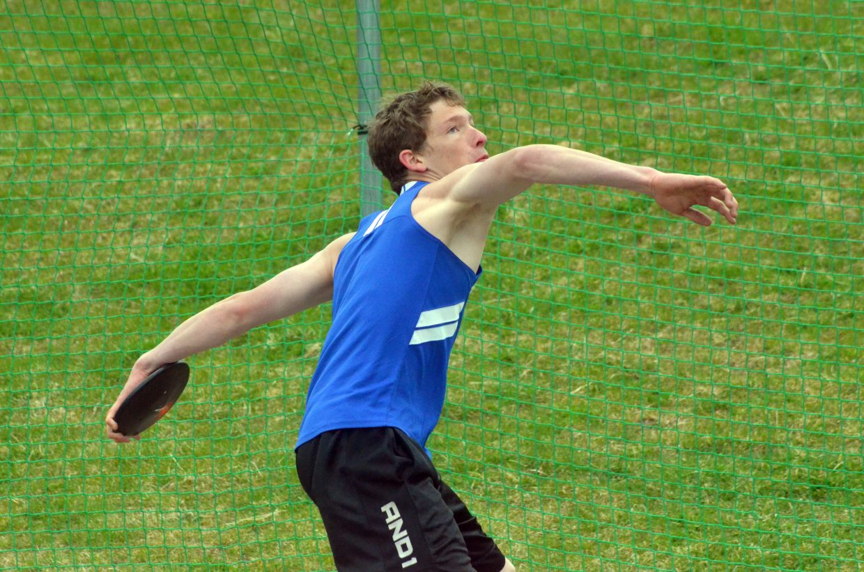 Moffat County High School's Josh Worster winds up to unleash the discus during Friday's Clint Wells Invitational at MCHS.