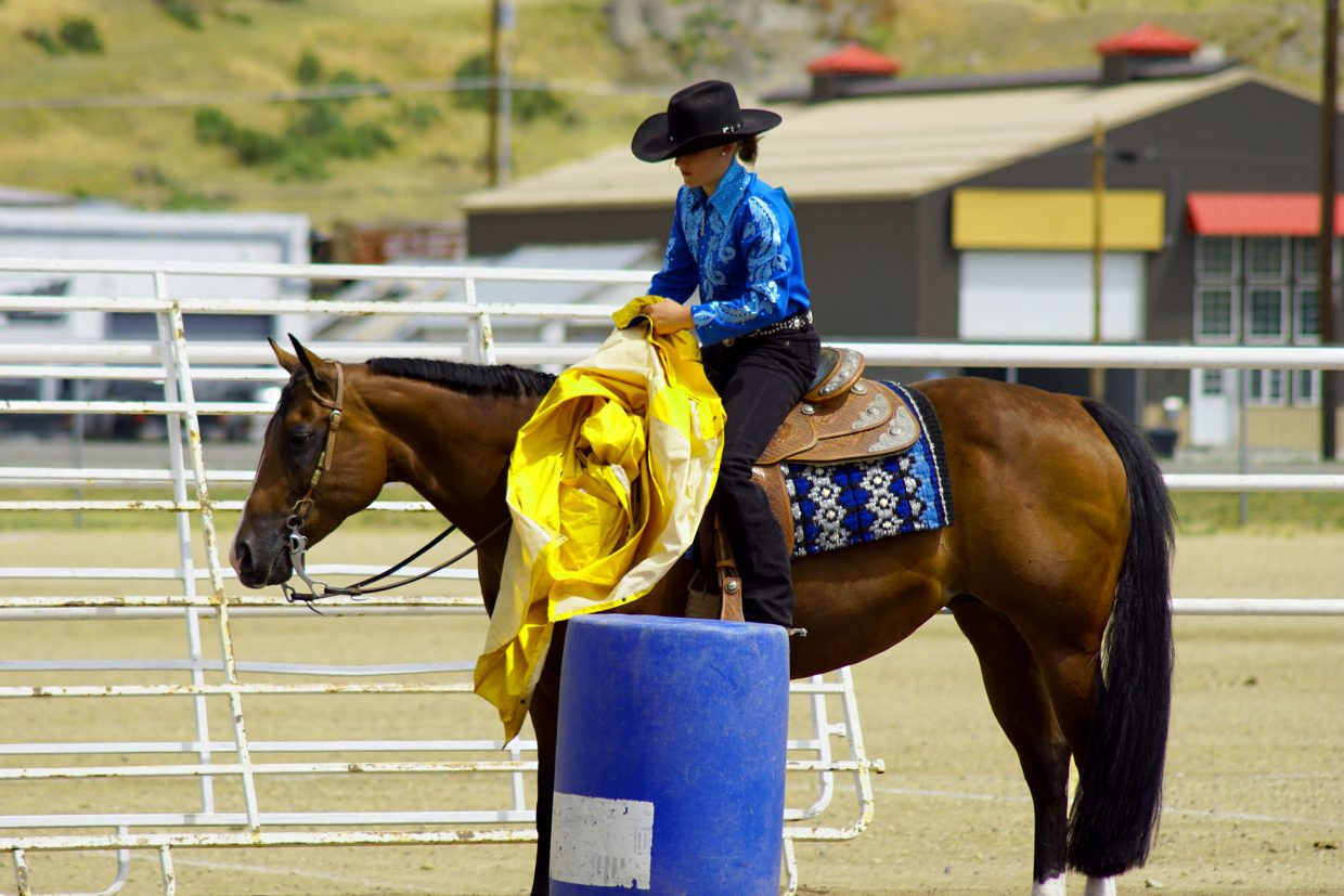 Payton Voloshin and horse Stella navigate the obstacles during the western trail ride. Horse and rider must be able to work together to master tasks like getting close enough for a rider to pick up a rain jacket.