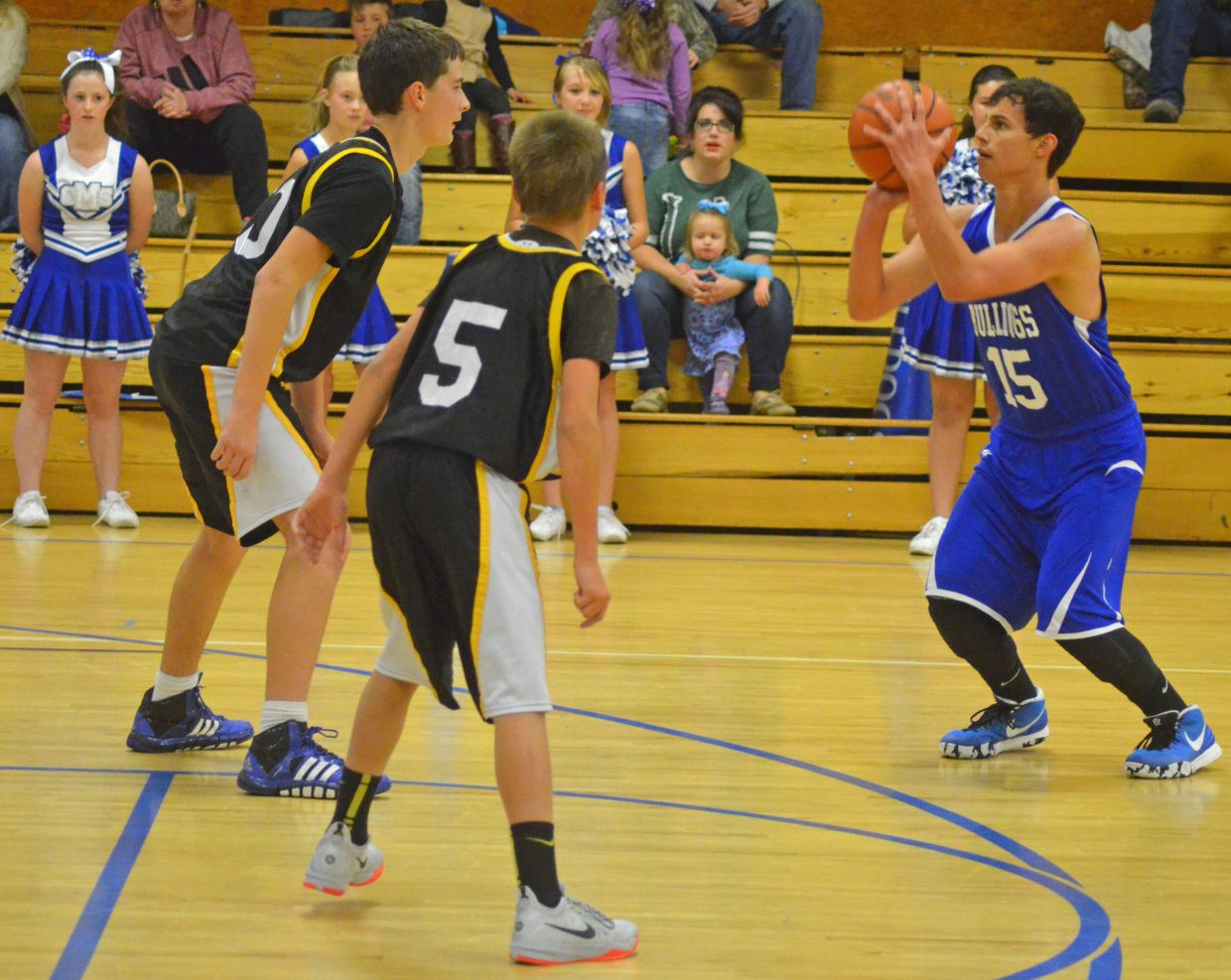 Jerod Chacon considers shooting for three during the Craig Middle School eighth-grade boys basketball A-Team's Thursday game against Meeker. The Bulldogs won, 29-27, against the Cowboys.