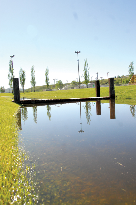 Rising water from the Yampa River has flooded sections of Loudy-Simpson Park. Northern sections of the park are under water and closed off.
