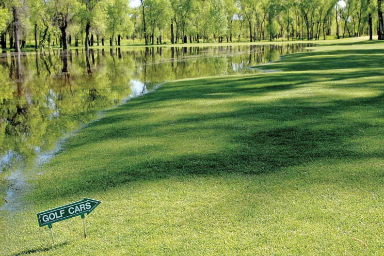 The fairway on the second hole at Yampa Valley Golf Course is flooded by the Yampa River. Ten holes at the golf course are closed due to flooding.