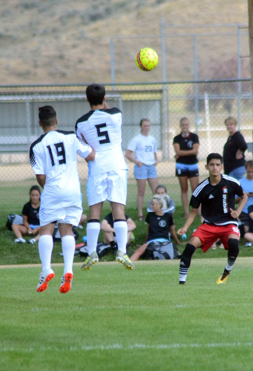 Colorado Northwestern Community College's David Moreno lets loose a free kick against Gillette College opponents during a CNCC men's soccer game. The Spartans took a 3-0 defeat in their first home game.