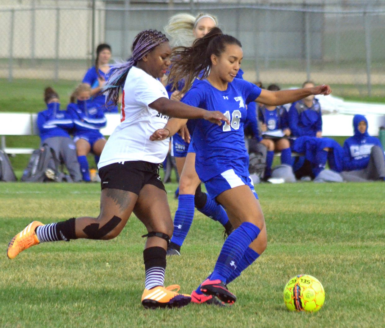 Colorado Northwestern Community College women's soccer player Janae Warrior keeps on top of her College of Southern Nevada opposition. CNCC women have dealt with a small roster and multiple injuries this season.