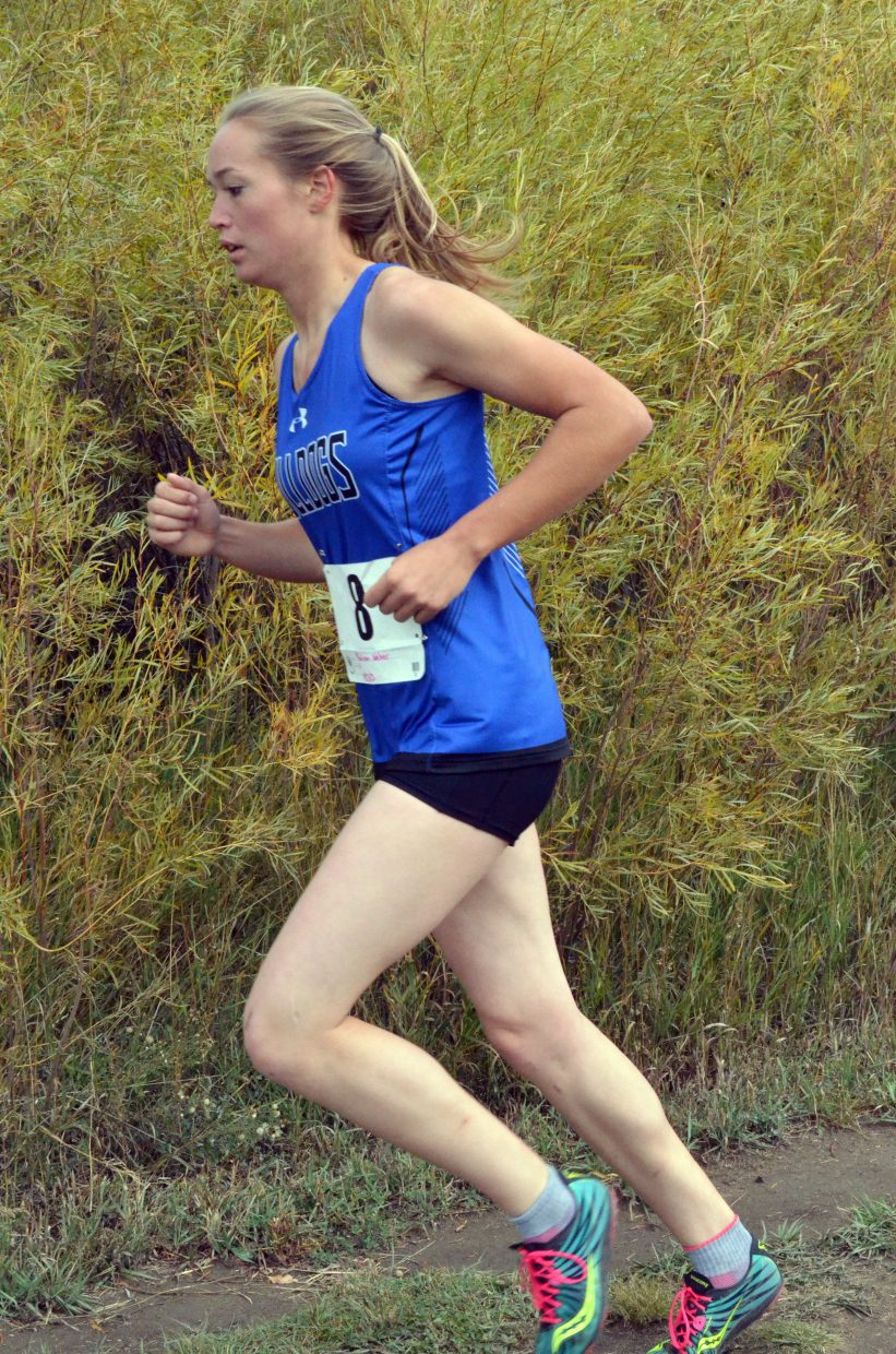 Moffat County High School cross country's Madie Weber stays in stride during the Bulldog Invitational Saturday at Loudy-Simpson Park.