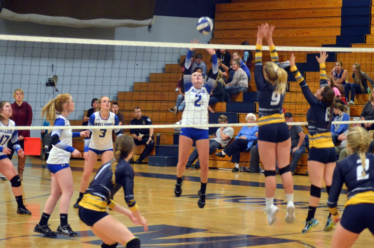Moffat County High School's Bailey Lawton puts up a set during Sept. 26's game against Rifle.