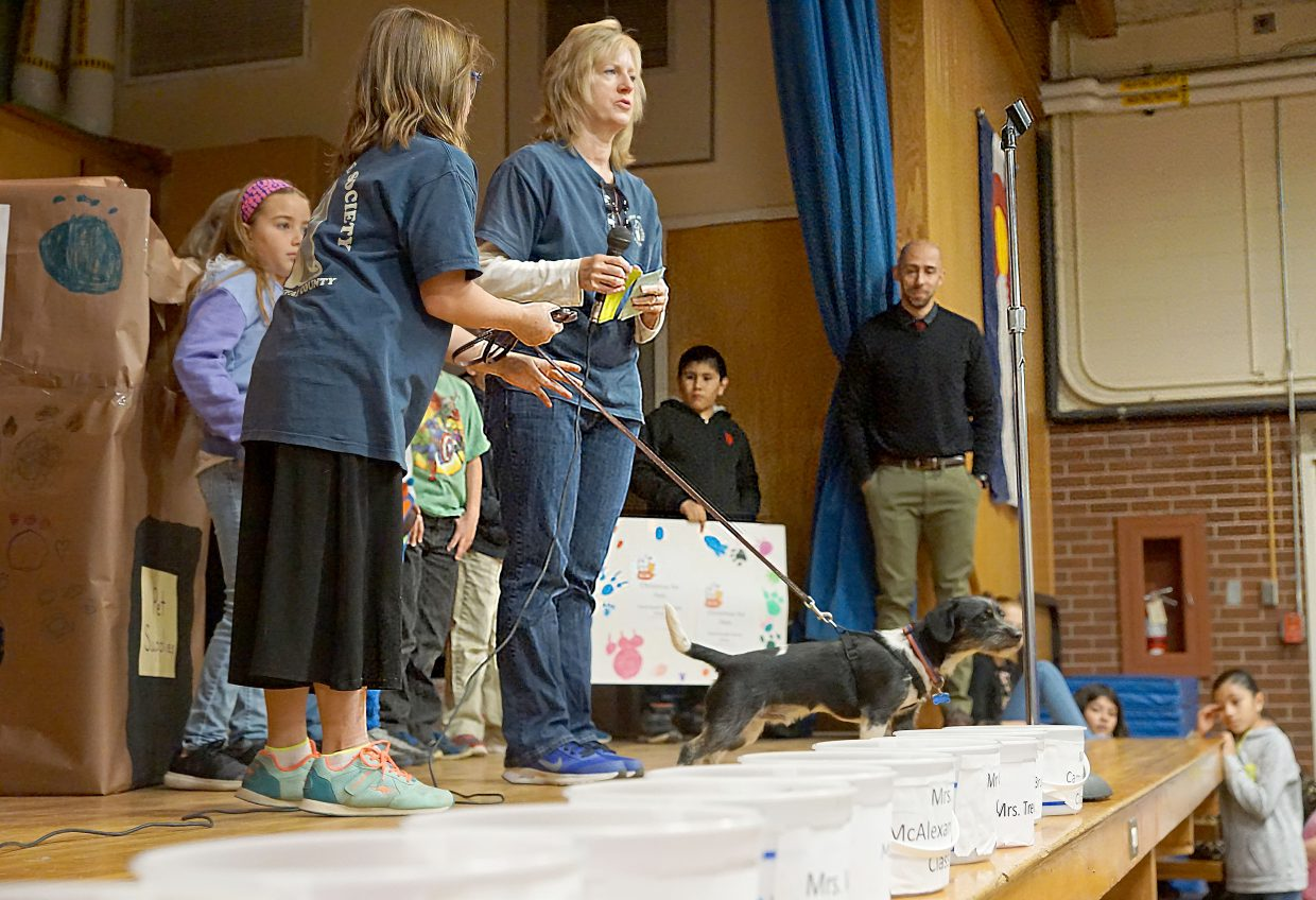 Efforts have begun by students at East Elementary School in Craig to raise money and supplies to give shelter pets a better Christmas. Pictured from left, Arianna Anderson holding the leash of a shelter dog, Addison Jones (in purple), Ann Anderson from the Human Society of Moffat County, Juan Martinez (holding the sign) and fourth-grade teacher Josiah Grubbs.