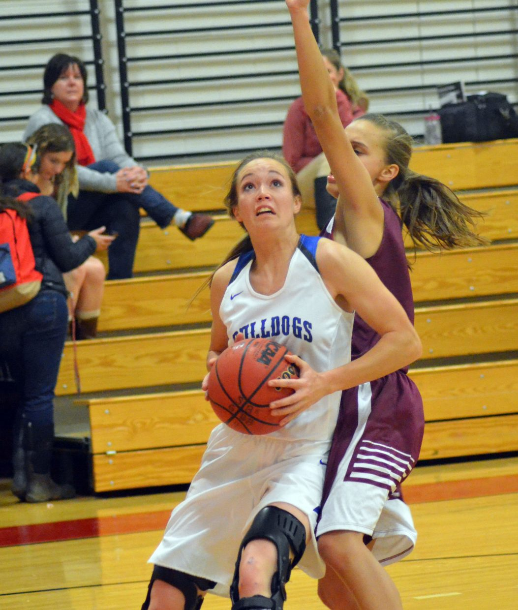 Moffat County High School's Madie Weber looks for a scoring opportunity against Soroco during the Steamboat Springs Shoot-Out. MCHS girls won 43-33 in their second game of the season against the Rams.