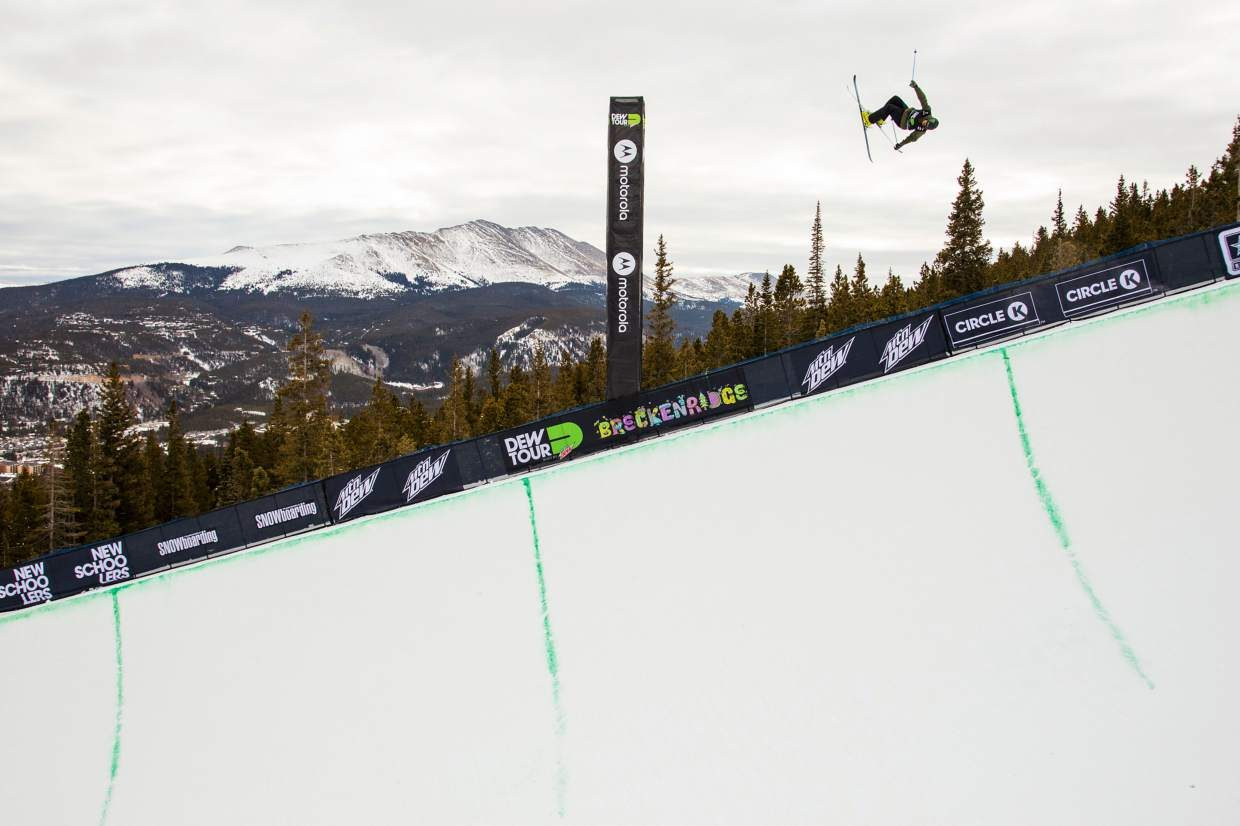 U.S. skier David Wise soars about the Dew Tour superpipe during Wednesday's qualifying round. Wise qualified for Friday's final round in first place with a score of 93.33.