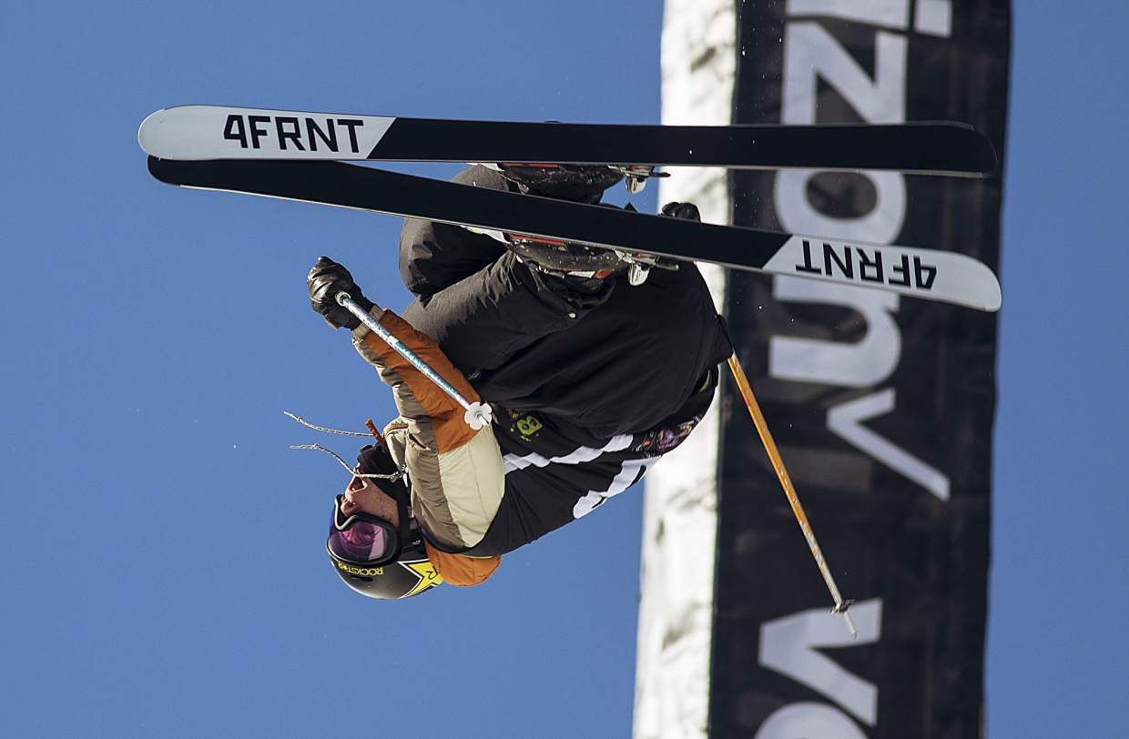 Alex Ferreira of United States competes in the pro ski superpipe finals during the Dew Tour event Friday, Dec. 15, at Breckenridge Ski Resort. Ferreira took home first with a high score of 94.66.