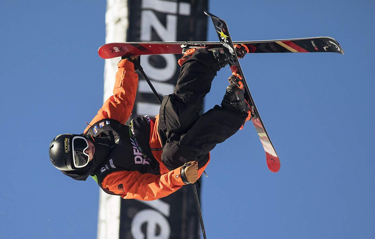 Aaron Blunck of United States competes in the pro ski superpipe finals during the Dew Tour event Friday, Dec. 15, at Breckenridge Ski Resort.
