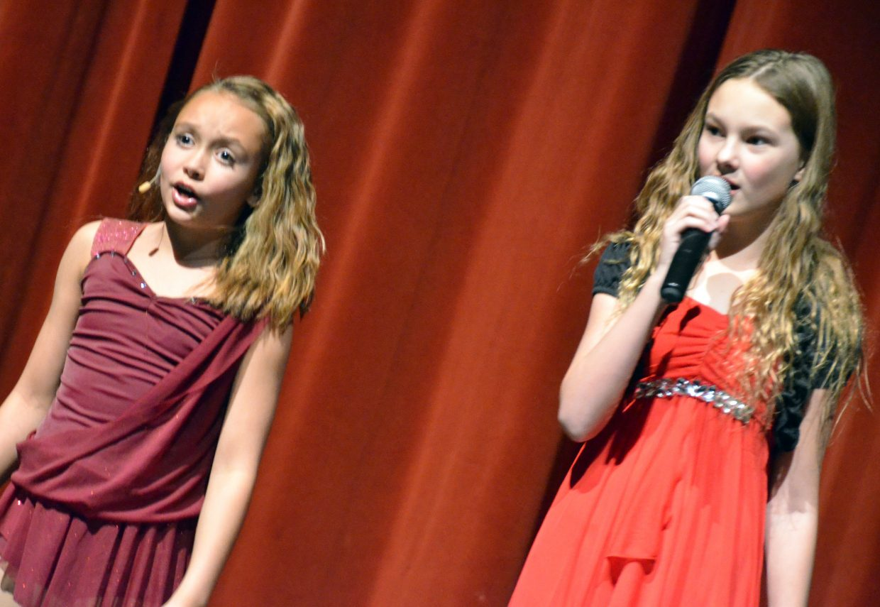 Samantha Franklin, left, and Keyara Bohrer perform a duet of