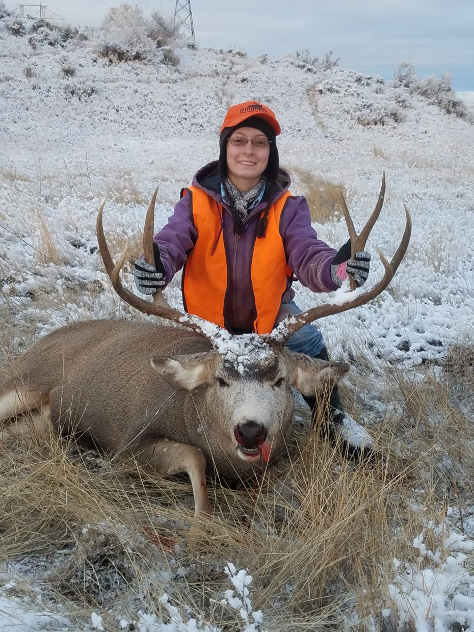 Sharon Quick with her first buck.