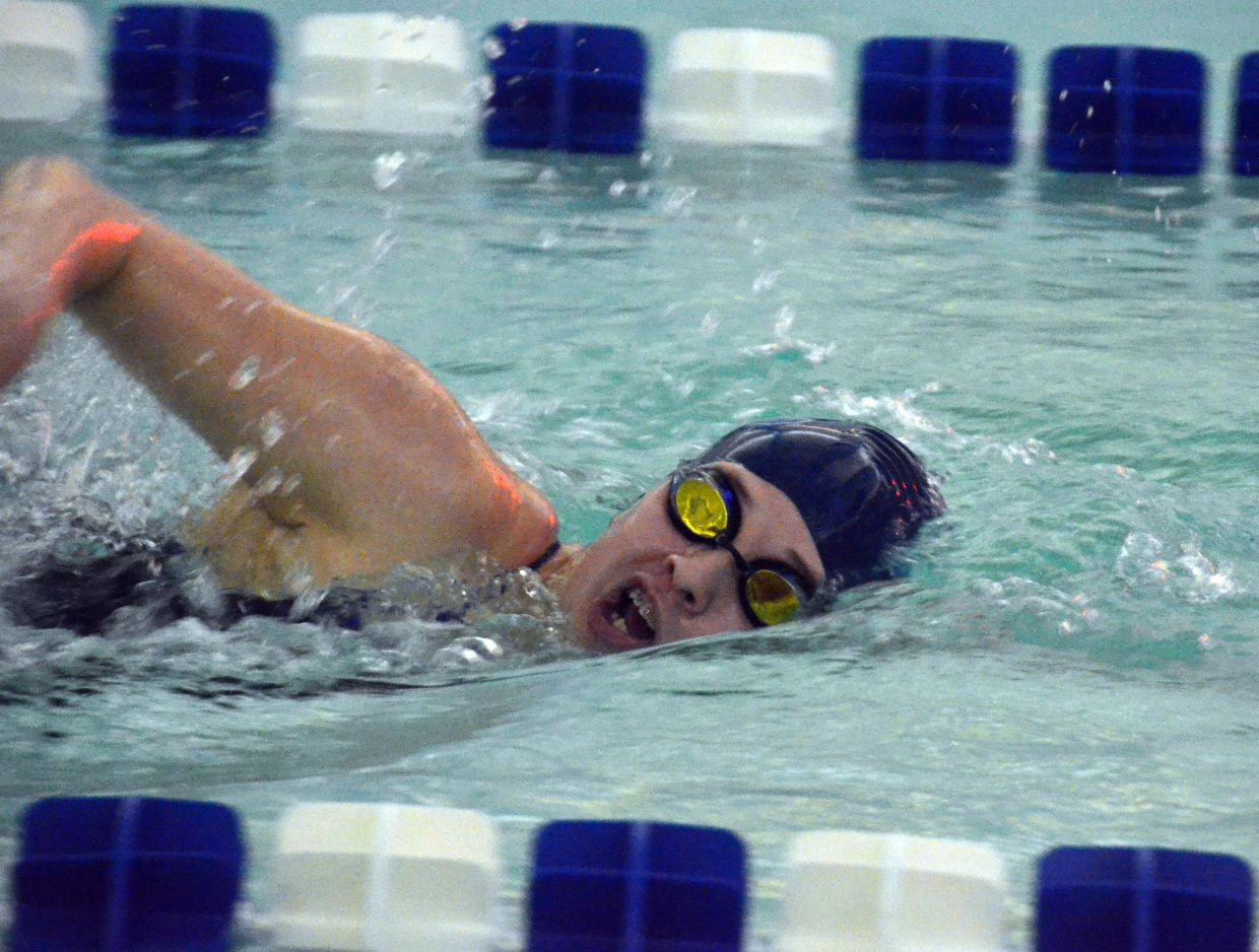 Moffat County High School's Alexa Neton stays on pace midway through the 400-meter freestyle race during the Moffat County Meet.