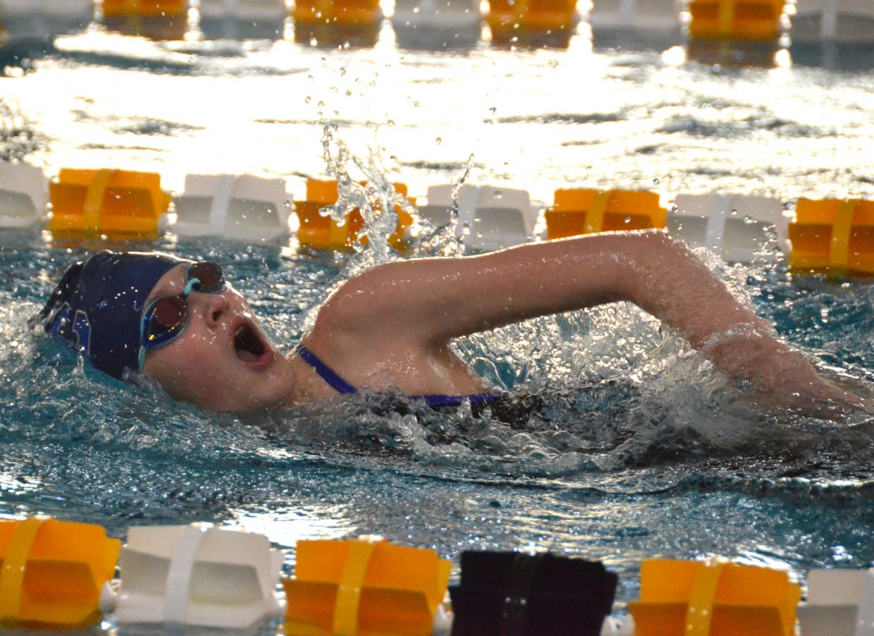 Moffat County High School's Tayla Siminoe swims the final leg in the 400-yard freestyle relay  Saturday at the Southwestern Conference League Championships.