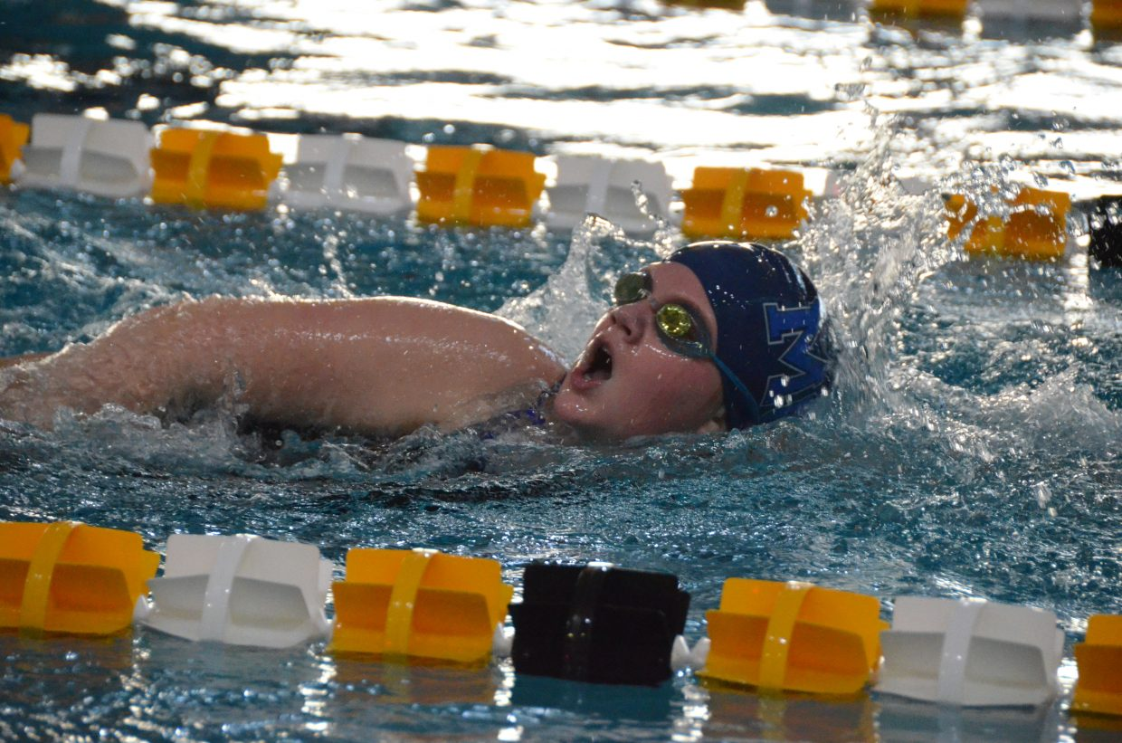 Moffat County High School's Ellina Jones swims the 400-yard medley relay  Saturday at the Southwestern Conference League Championships.