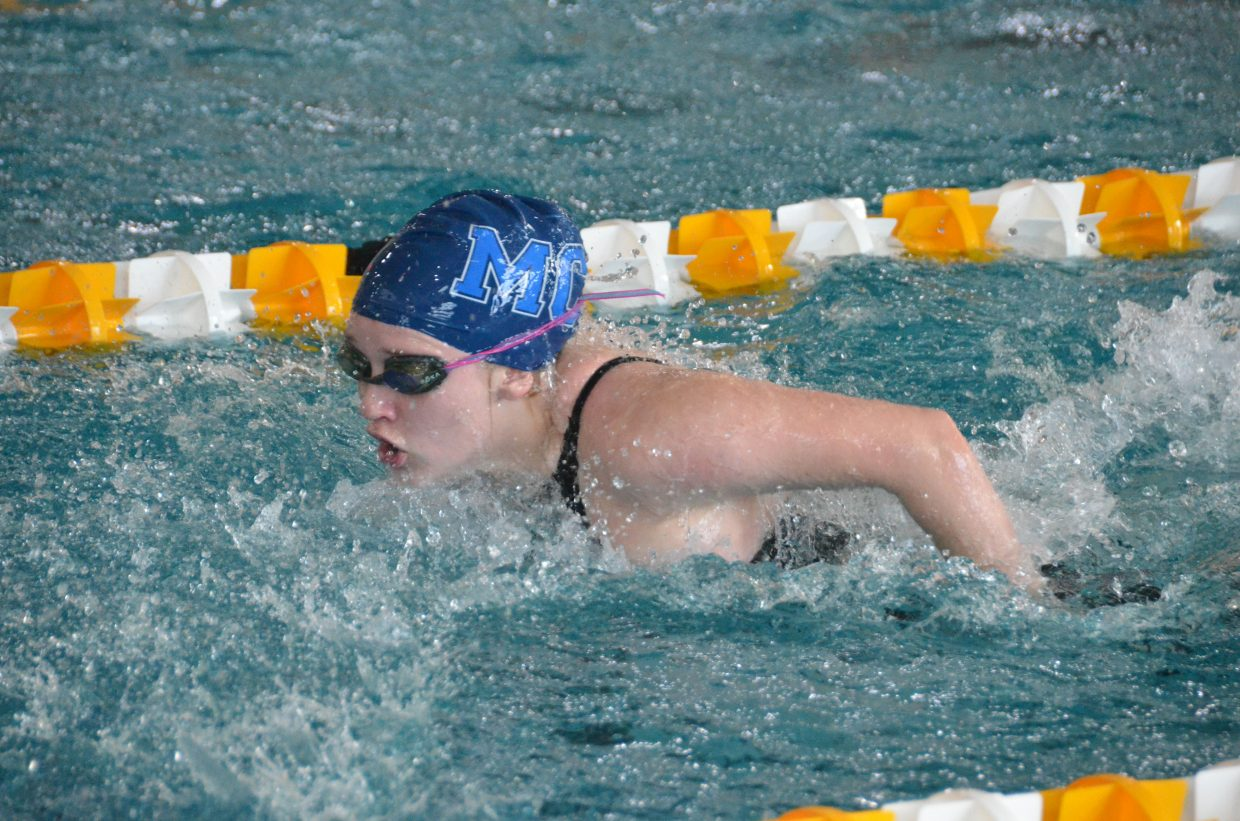 Moffat County High School's Molly Neton swims the butterfly portion of the 200-yard medley relay  Saturday at the Southwestern Conference League Championships.