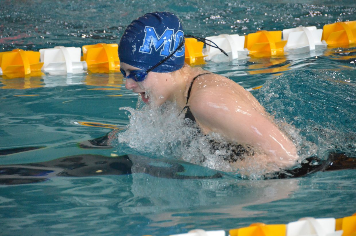 Moffat County High School's Kelsey McDiffett swims the breastsroke portion of the 200-yard medley relay Saturday at the Southwestern Conference League Championships.