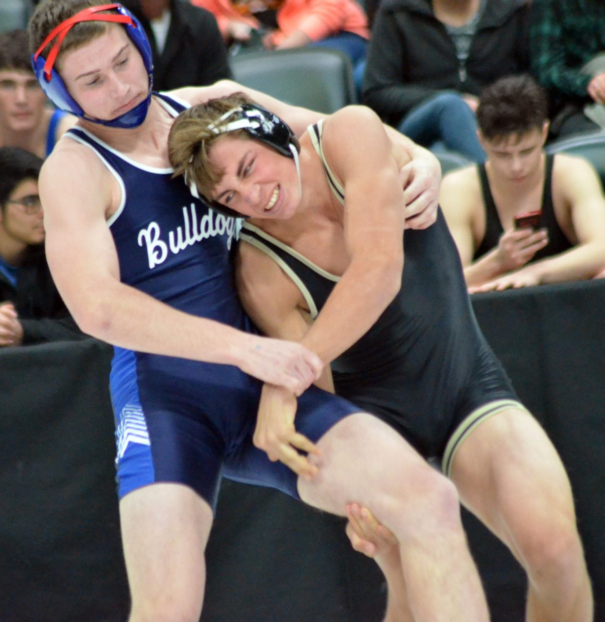Moffat County High School wrestler Miki Klimper stays cool against Ian Reinhardt of Pagosa Springs. Klimper  won by pin to advance to the state quarterfinals round Friday.