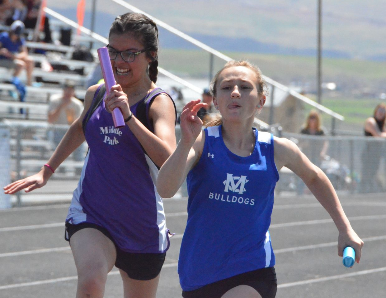 Moffat County High School's Kylee Batson Bovee has only the finish line in mind in the girls 4x100-meter relay Friday at the Clint Wells Invitational.
