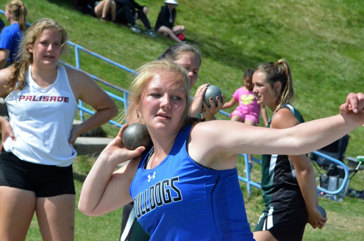 Moffat County High School's Caylah Million readies for the throw in the shot put Friday at the Clint Wells Invitational.