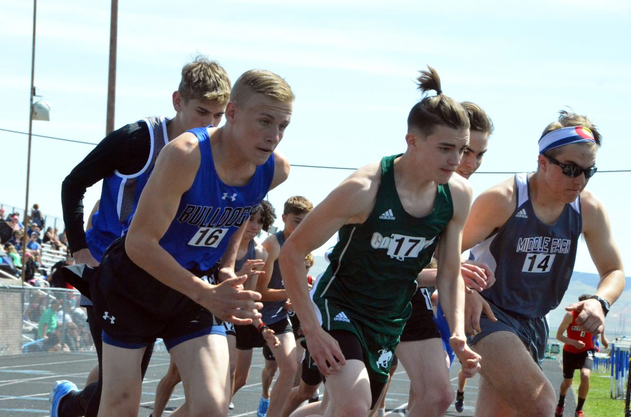 From left, Moffat County High School's Coltyn Terry takes off from the starting line in the 800-meter run Friday at the Clint Wells Invitational.