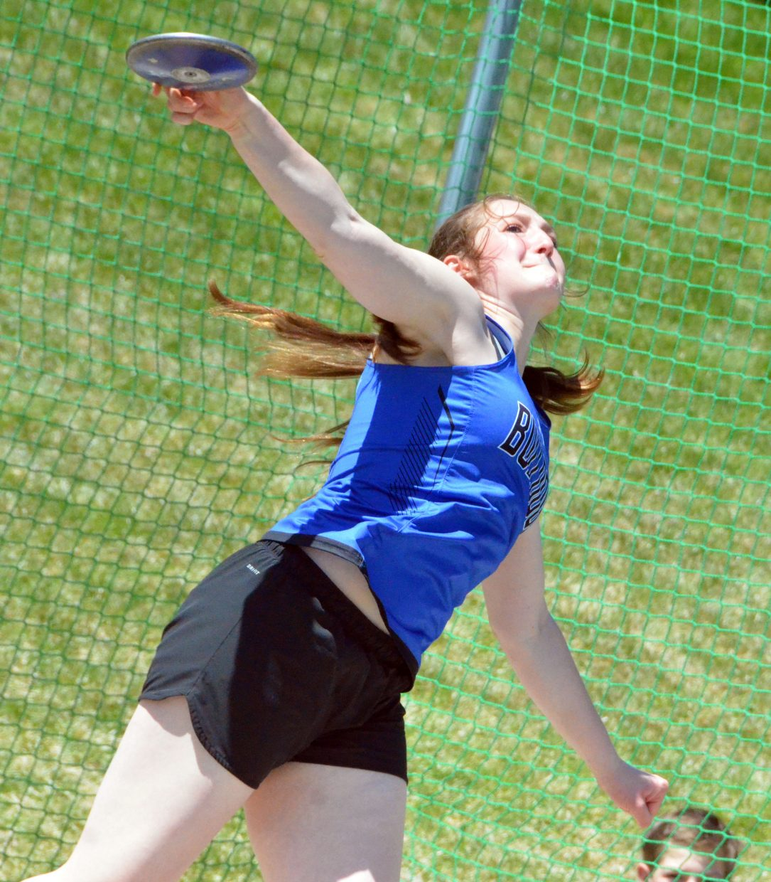 Moffat County High School's Tiffany Hildebrandt completes her throwing motion in the discus Friday at the Clint Wells Invitational.