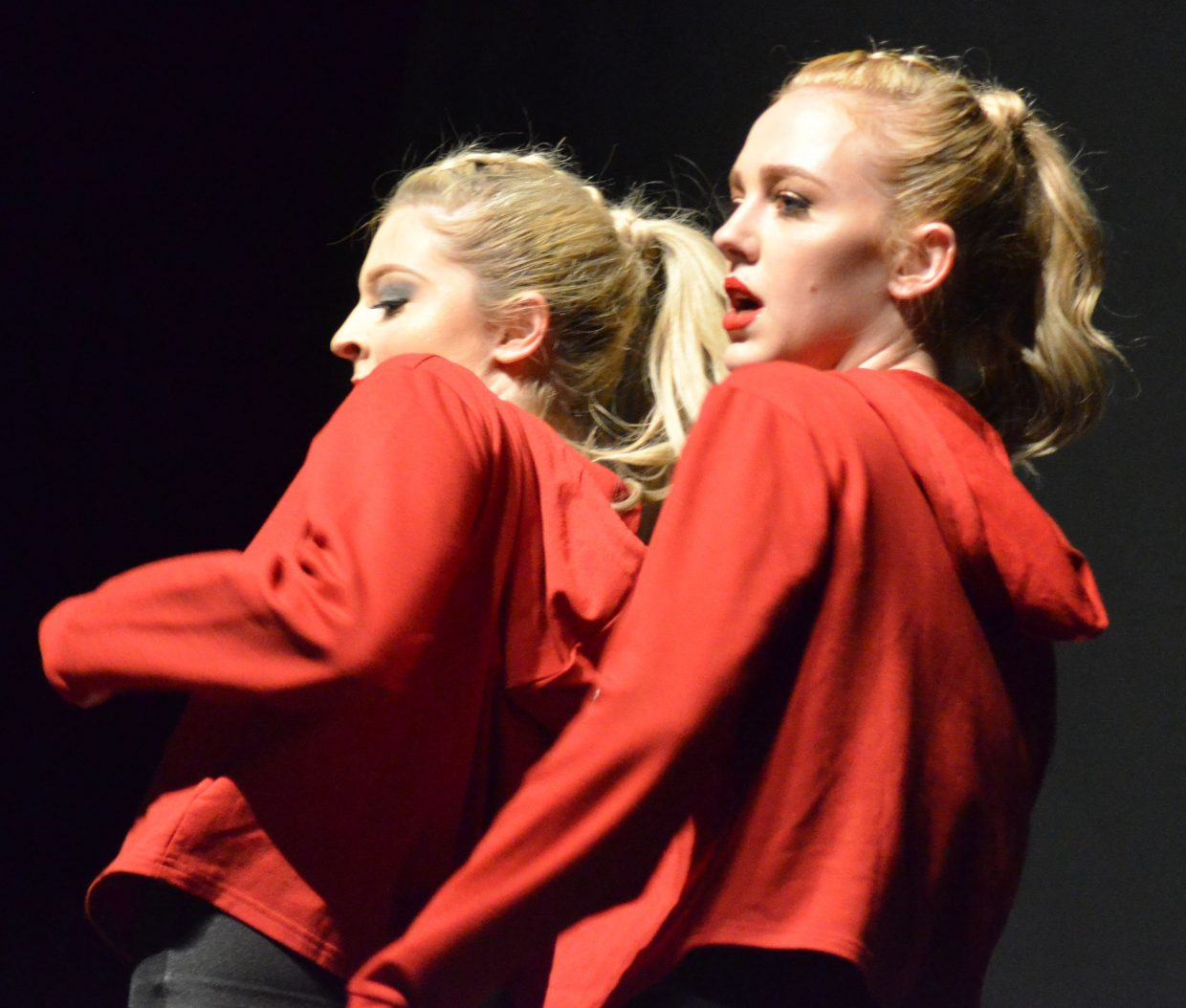 Senior dancers Madison Meckley and Abbie Told perform to Missy Elliot's