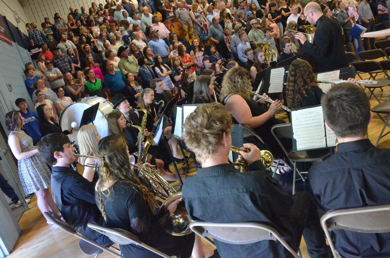The Moffat County High School band performs the national anthem during Saturday's graduation ceremony.