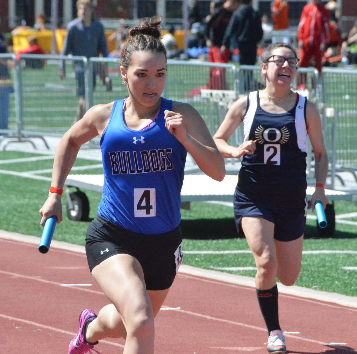 Moffat County High School's Quinn Pinnt serves as the anchor for the 4x200 relay at Saturday's Western Slope Multi-Leagues Meet.
