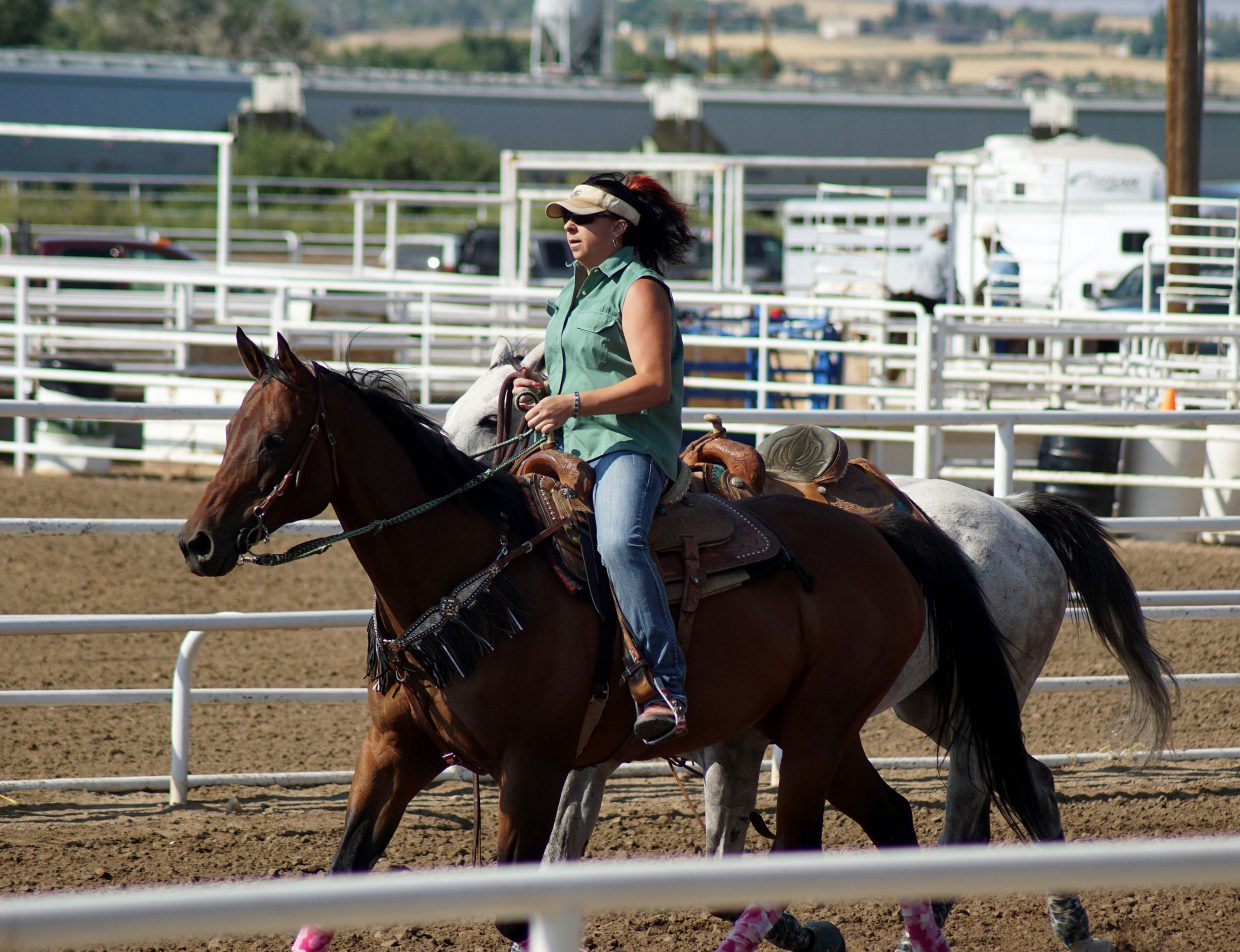 A rider warms up her horses. Some riders had multiple entries in the race.