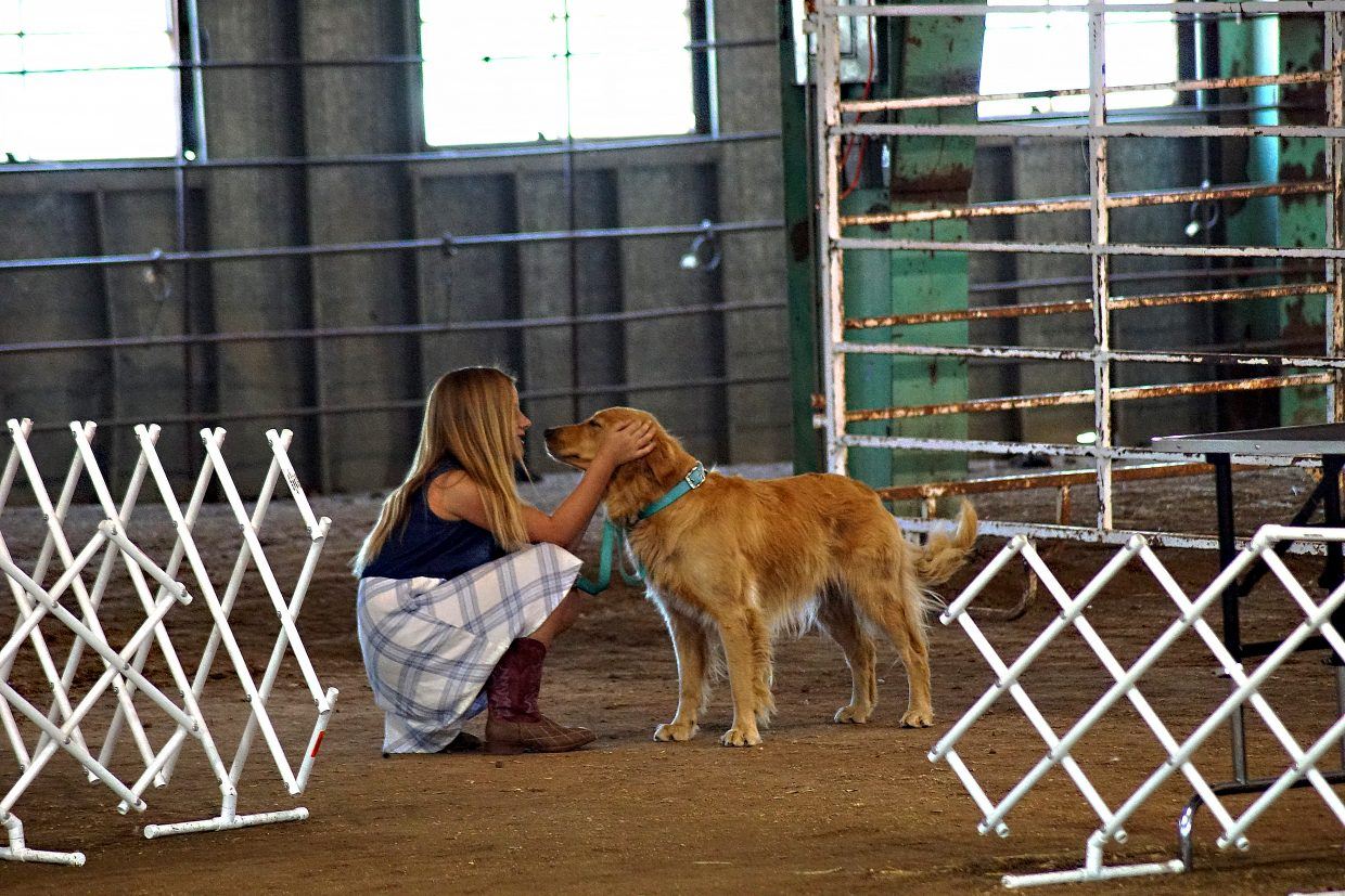 Rye Ocker and her dog, Bella, prepare to enter the show ring.