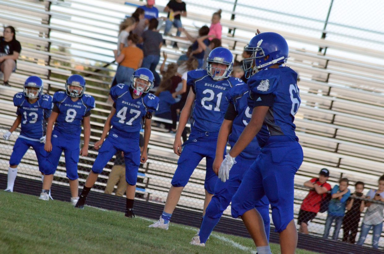 Craig Middle's School's seventh-graders ready for a kickoff against Steamboat Springs.