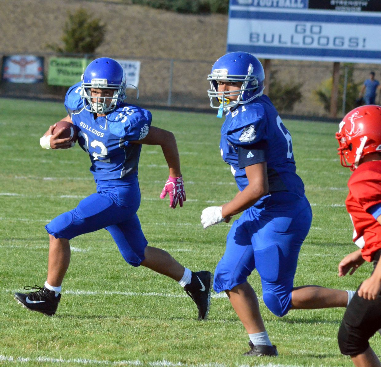 Craig Middle's School's Jaden Gallegos looks to make a move against Steamboat Springs.