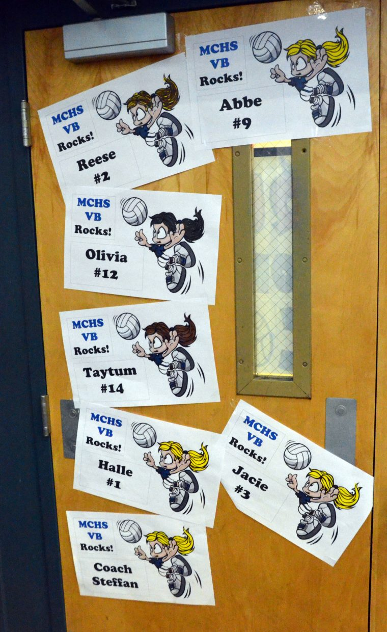 Homecoming signage celebrates Moffat County High School volleyball players on the gym doors.