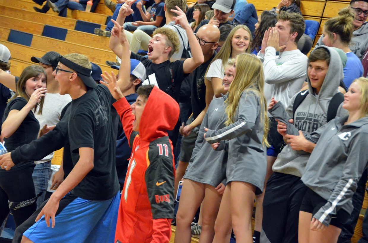 The Moffat County High School student section gets vocal during Bulldog varsity volleyball's game with Roaring Fork.