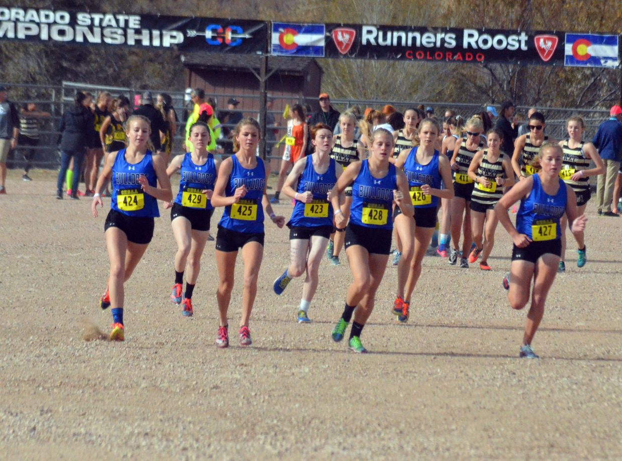 Moffat County High School girls cross country warms up before the official race at the CHSAA State Championships in Colorado Springs.