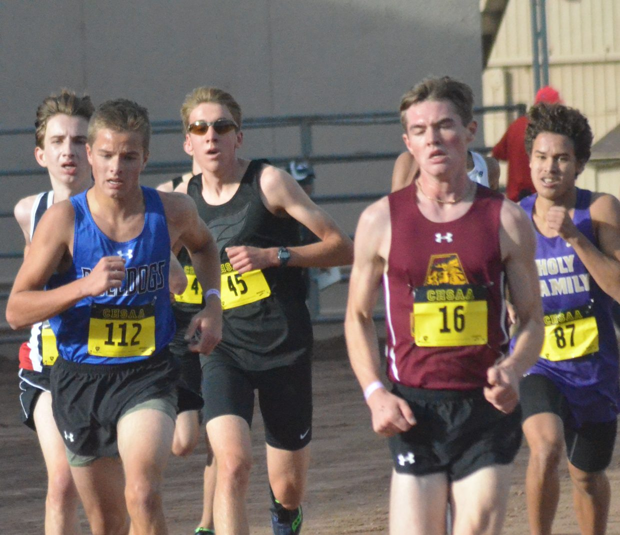 Moffat County High School cross country runner Keaton Knez looks to stay in front of the competition at the CHSAA State Championships in Colorado Springs.