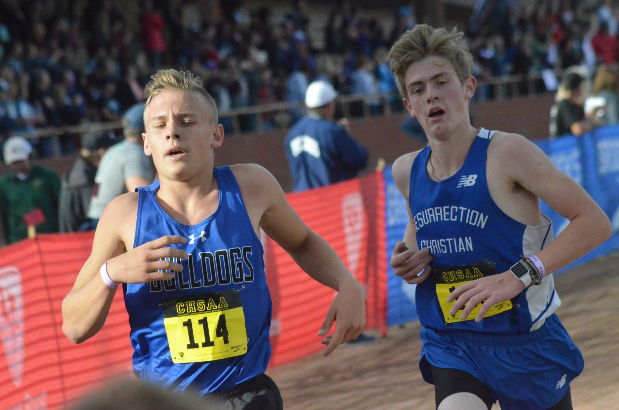 Moffat County High School's Coltyn Terry puts on a final burst of speed at the CHSAA State Championships in Colorado Springs.