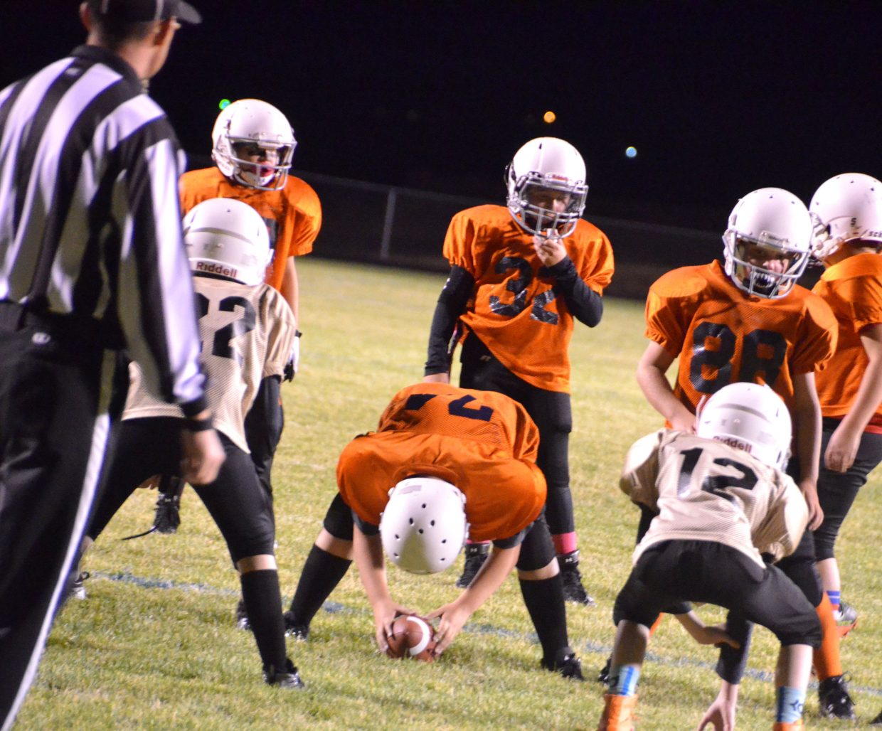 The Broncos and Saints set up near the goal line during the Craig Parks and Recreation Doak Walker playoffs.