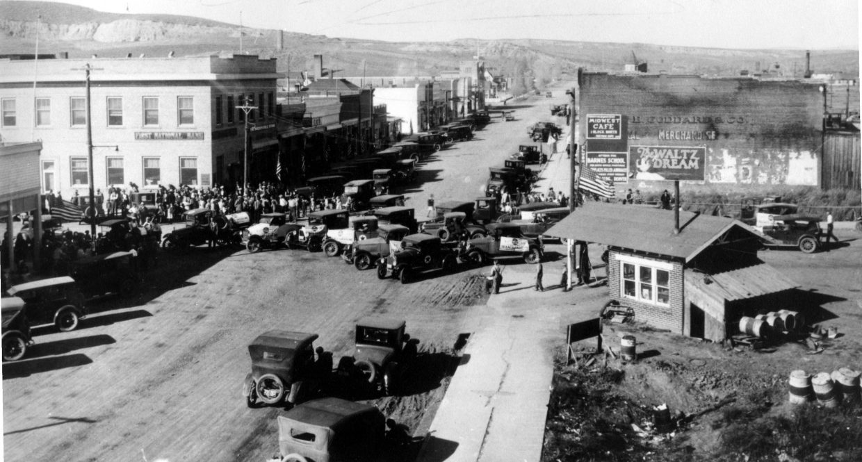 Looking north on Yampa Avenue in 1926. The event taking place in the intersection was a dedication marking completion of the Texaco refinery just west of Craig.