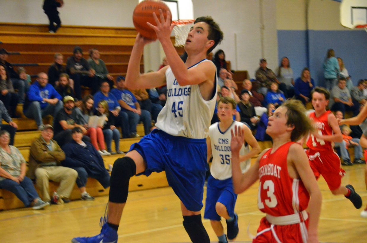 Craig Middle School's Ian Trevenen soars in for a layup against Steamboat Springs.