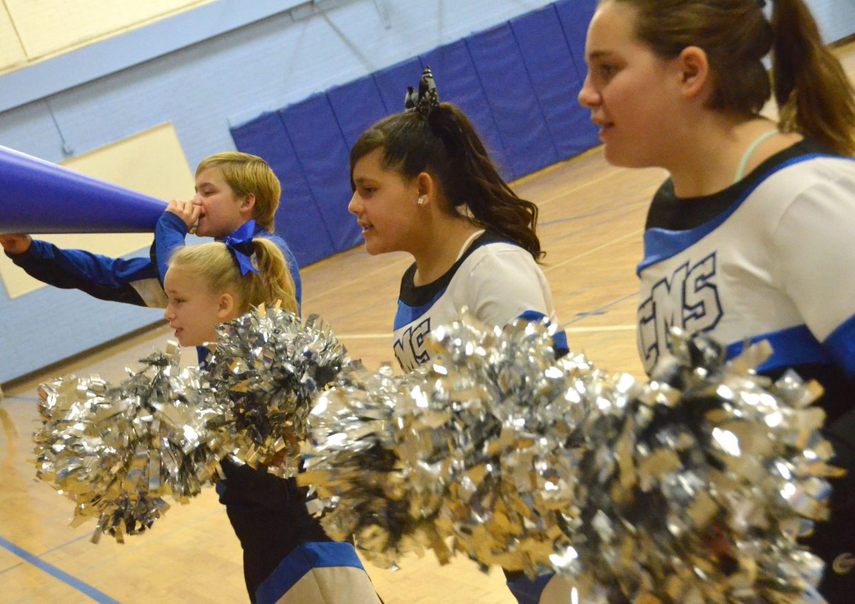 Craig Middle School cheerleaders entertain the crowd Saturday during a timeout.