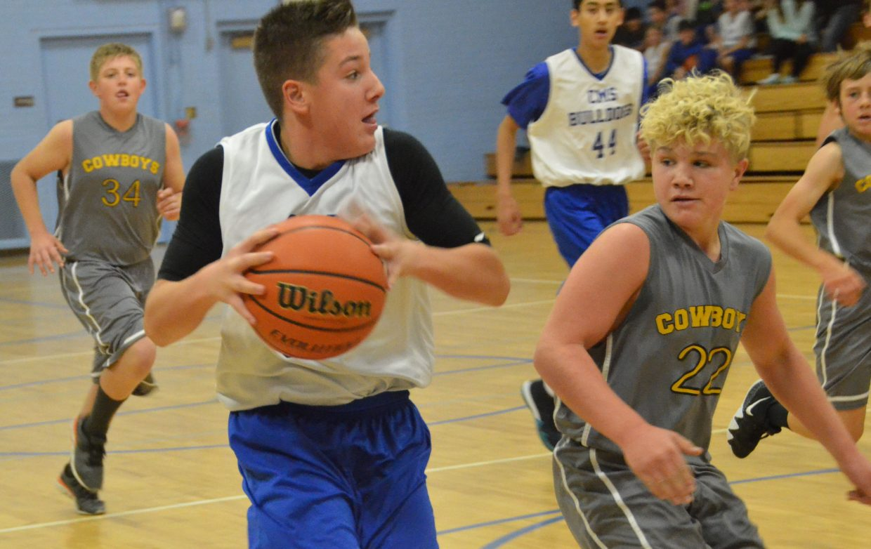 Craig Middle School's Spencer Najera posts up against Meeker opponents.
