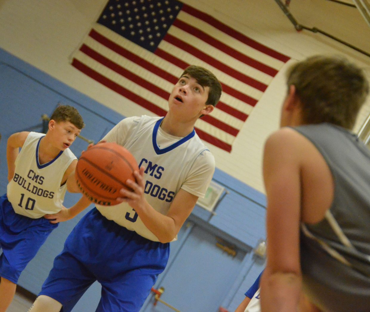 Craig Middle School's Cort Murphy focuses on a free throw against Meeker.