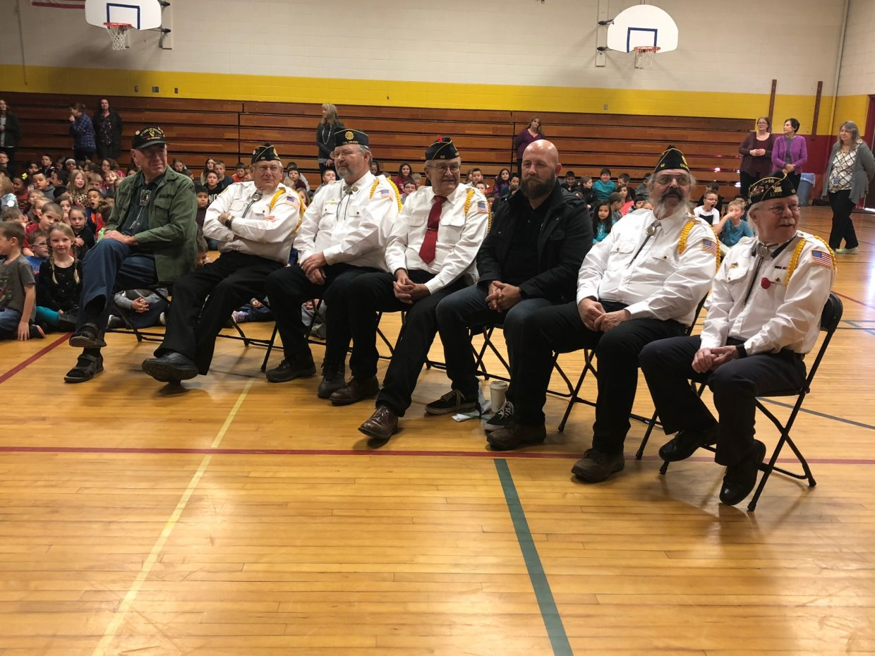 Veterans from the American Legion Post 62 in Craig telling students about their service.