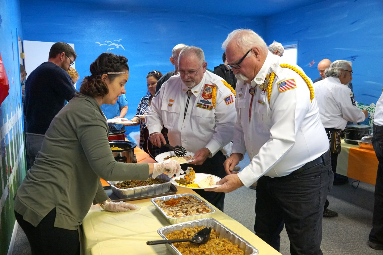 Veterans are asked to lead the line to a buffet-style feast complete with pumpkin pie for desert at the Lighthouse of Craig's Thanksgiving day dinner honoring Veterans on Veteran's Day Nov. 11.