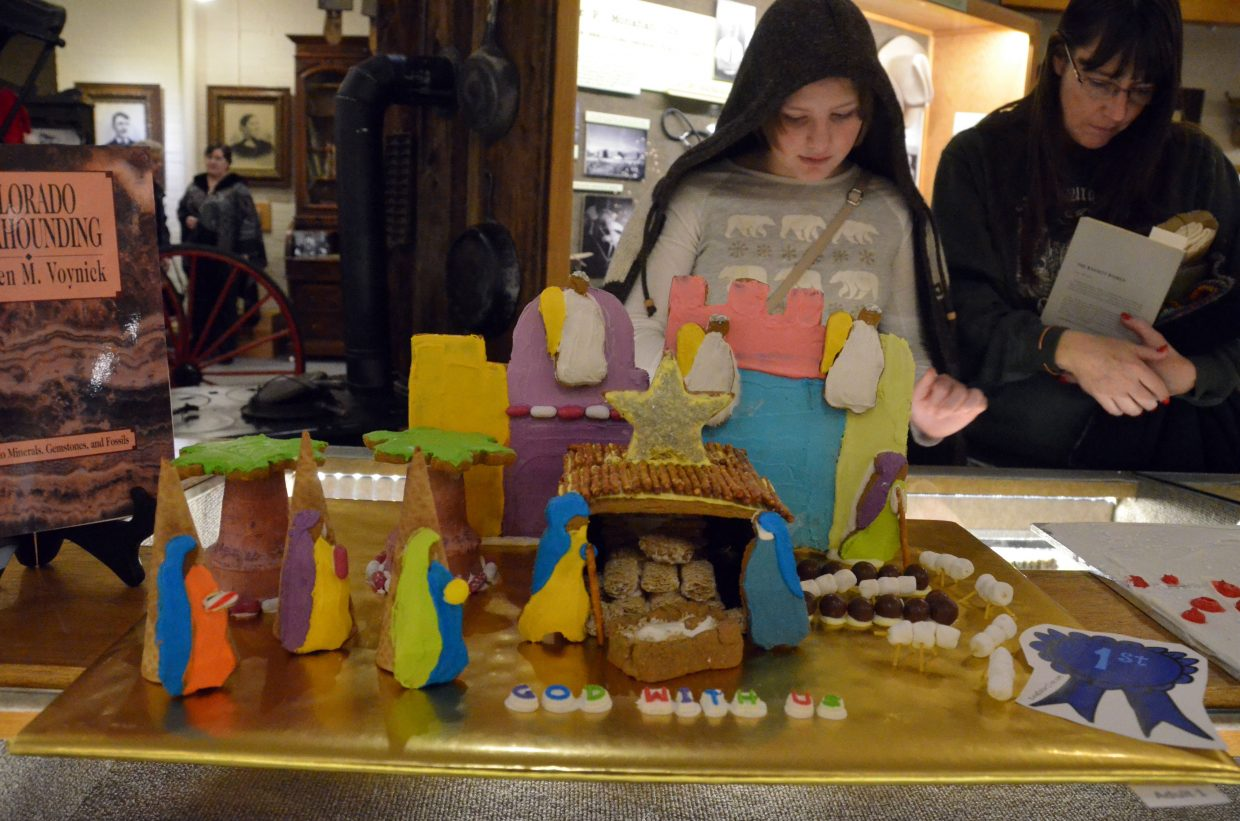A gingerbread nativity scene is one of many baked good displays during Down Home Christmas Saturday at Museum of Northwest Colorado.