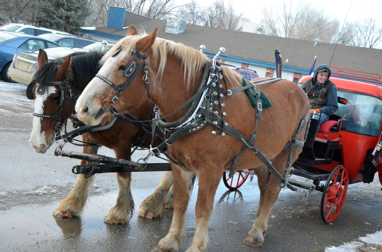 Grady Anson picks up a new bundle of passengers for a horse-drawn carriage ride during Down Home Christmas Saturday in Alice Pleasant Park.