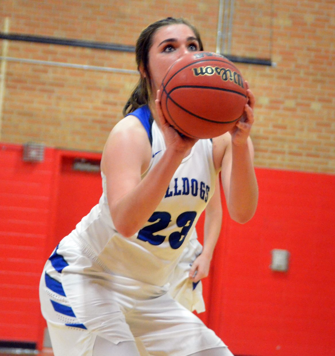 Moffat County High School's Jenna Timmer  lines up a free throw.